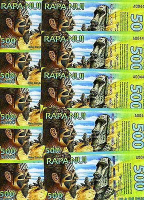 LOT Easter Island, 10 x 500 Rongo, 2012, Polymer, UNC