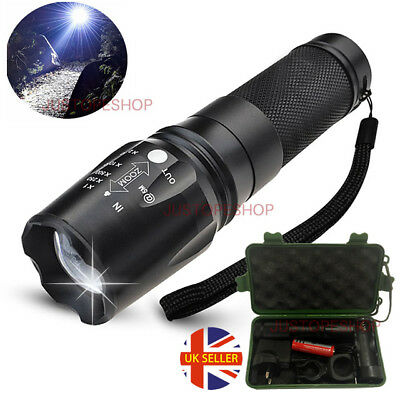 Tactical XML Waterproof T6 Zoomable 8000lm LED Flashlight Torch Rechargeable Set