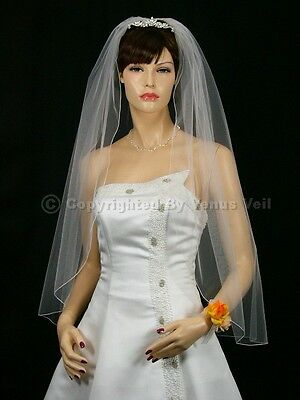 1T White Bridal Fingertip Length Pencil Edge Wedding Veil