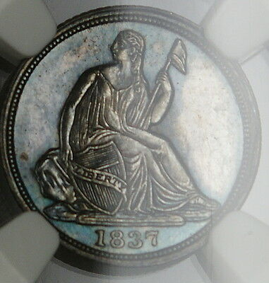 1837 Seated Liberty Silver Half Dime NGC MS-62 Very Choice BU Prooflike PL GKG