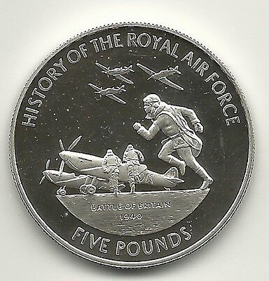 (W-13) Guernsey 2008 5 Pound History Of Royal Air Force Silver Imp Proof Coin