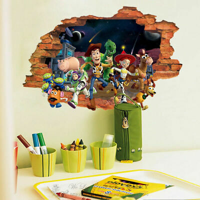 Toy Story 3 3D Broken Wall Decor Nursery Kids Decal Stickers Woody Buzz Bullseye