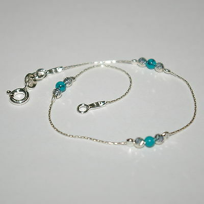 3 pieces Sterling Silver 925 Chain, Laser Cut & Green Turquoise Bead BRACELETS