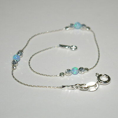 4 pcs Sterling Silver 925 Chain Laser Cut and Light Blue OPAL Bead BRACELETS Lot