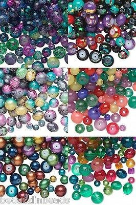 Huge Lot of 600 Assorted Shape Size Styles & Color Glass Beads in Many Varieties