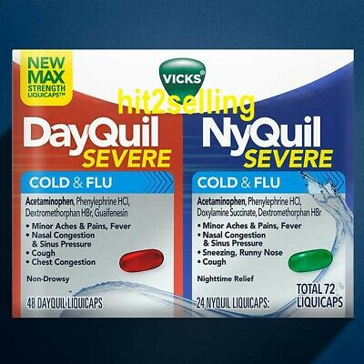 Vicks NyQuil 24 Caplets + DayQuil 48 Cap. Severe Cold & Flu Relief Cough, Fever