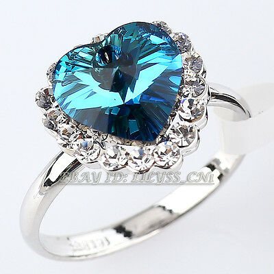 "A1-R176 Simulated Sapphire Ring ""Heart of Ocean"" 18KGP Swarovski Crystal"