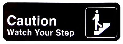 """1 pc 3""""x9"""" Sign, Black, Caution/Watch Your Step"""