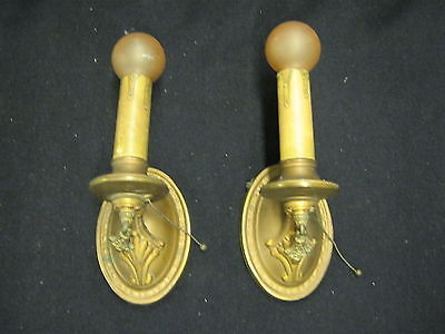 Antique Brass Pair Lights Wall Sconces Candle Motif #880-12