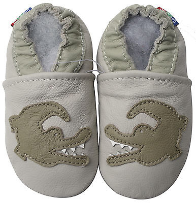 new soft sole leather baby shoes dinosaur cream 18-24m