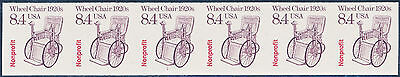 """#2256a """"WHEEL CHAIR"""" IMPERF STRIP OF 6 WITH PLATE #1 XF OG NH WL1361"""