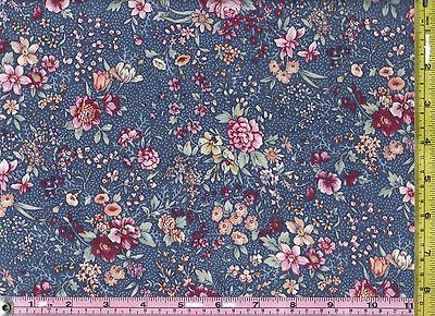 Medium Blue Blooming Flowers Cotton Calico Material 1/4 yd 22.8 cm off bolt