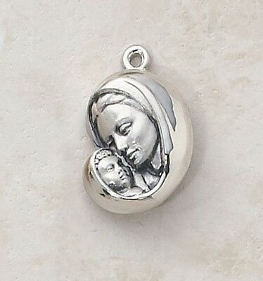 "NMC 7/8"" Mens Womens Sterling Silver Mary Madonna Embracing Christ Child Medal"