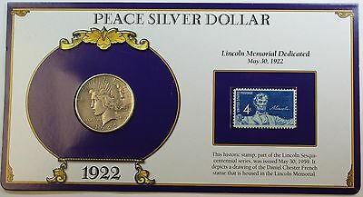 1922 Silver Peace Dollar, Circulated Coin, W/ Fact Sheet About 1922, W/ Stamp