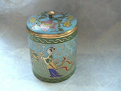 Qing Dynasty Antique  Cloisonne bronze signed round jewelry box