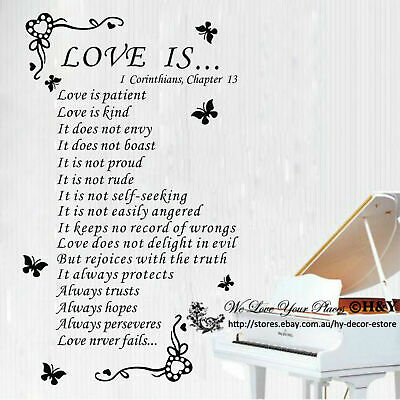 Christian Bible Wall Quote Removable Vinyl Decal Stickers Art Decor ~ Love Is