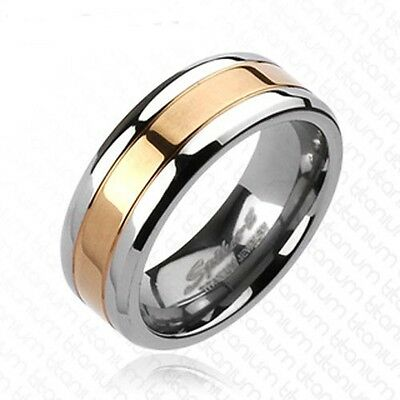 Solid Titanium Rose Gold IP Center Wedding Double Striped Band Ring R235