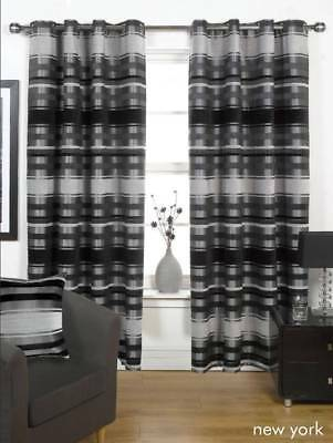 BLACK & GREY THICK HEAVY Lined EYELET Curtains 4 Sizes