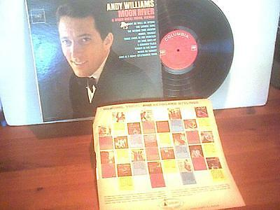 ANDY WILLIAMS MOON RIVER  Columbia Stereo CS8609 VNT 1962 Mersey 33 Vinyl LP RED
