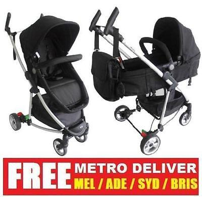 Limited 2 In1 Aluminium Silver Black Baby Stroller Pram Jogger  With Bassinet