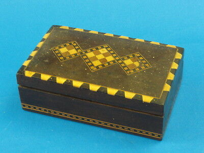 Antique Middle Eastern Exotic Wood Mosaic Inlay Trinket Box