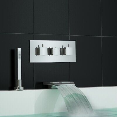 Concealed Thermostatic Shower Mixer Waterfall Bath Filler Deck Mounted Handheld