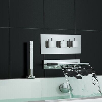 Concealed Thermostatic Shower Mixer Tap Waterfall Bath Filler and Deck Handheld