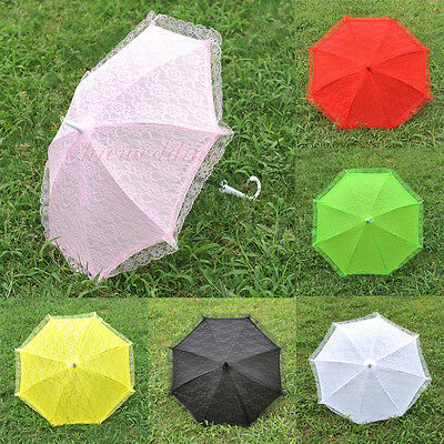 "10 Colors 22"" Lace Flower Girls Kids Parasol Wedding Bridal Party Sun Umbrella"