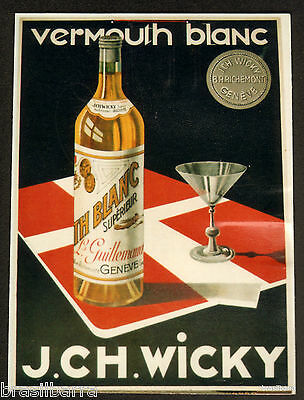 Carton Publicitaire Vermouth Blanc J.ch. Wicky Ancien