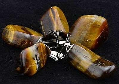 1 x BROWN TIGERS EYE TUMBLED CRYSTAL PENDANT Wicca Witch Reiki Pagan Goth Punk