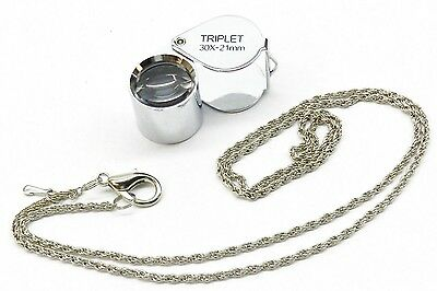 30X Jewelry Loupe Jewelers Triplet 21Mm Silver Loupe Leather Case + Free Chain