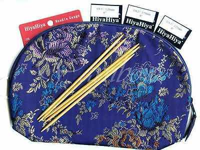 """HiyaHiya ::Bamboo 6"""" Double Pointed Sock Set with Accessory Case:: Brand New"""