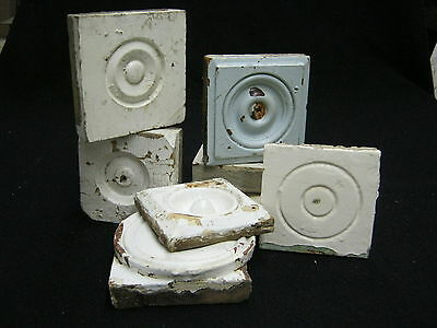 Lot of 8 Misc. Antique Bullseye Rosette Moulding Corner Blocks Victorian #968-12