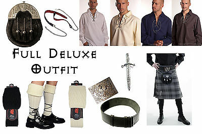 8 Yard Scottish Kilt Package, Complete Deluxe Casual Outfit Hamilton Grey Tartan
