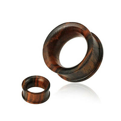 Brown Sono Wood Wooden Concave Double Flared Flesh ear Tunnel Plug 6mm - 25mm