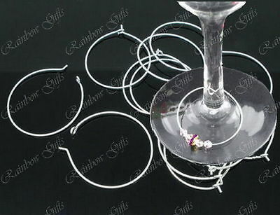 SILVER PLATED WINE GLASS CHARM RINGS EARRING HOOPS SELECT SIZE 50 or 100