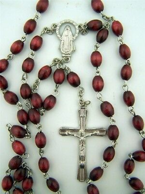 Mens 8MM Oval Cordovan Brown Wood Bead Religious Daily Prayer Rosary Necklace