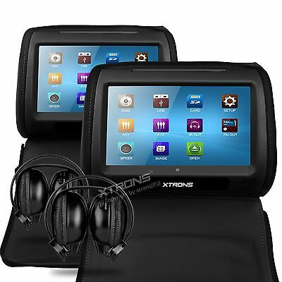 "XTRONS HD908 Black  2x 9"" CAR HEADREST DVD Player TOUCH SCREEN Monitor Headphone"