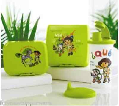 Tupperware Dora Safari Lunch Set Tumbler Domed Sippy Lid Sandwich Keeper Hinged