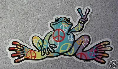 "Peace Frogs Peace Sign Fill 6"" X 3"" Sticker"