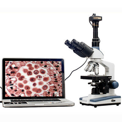 2000X LED Lab Trinocular Compound Microscope w 3D Mechanical Stage + 5MP Camera