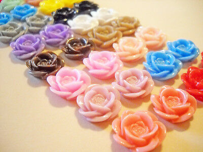 Flower Cabochons Assorted Colors Rose Cabochons 18mm Embellishments