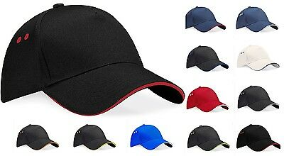 Beechfield Ultimate Contrast Colour Cotton Drill Baseball Sports Golf Cap Hat