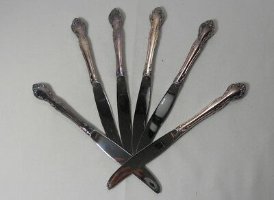 Oneida Silver Affection Silverplate Set of 6 Modern Hollow Knives