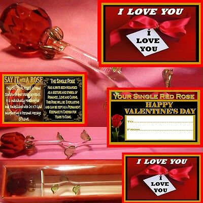 Red Rose Glass Flower  I Love You Gift Present Valentines Day Girlfriend Romance