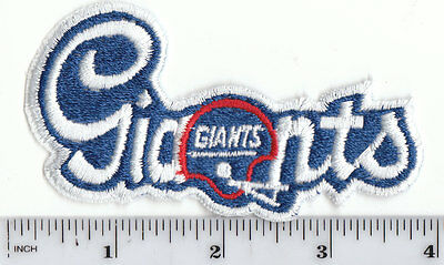 """NY Giants 3 3/4"""" Cursive Script Helmet Patch Old Logo Throwback -sew or iron on"""
