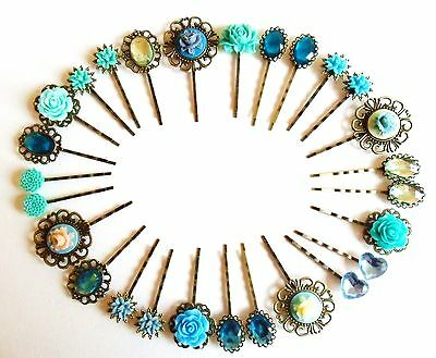 Hair Pins Clips Slides Vintage Accessories Flower Rhinestone Rose Blue Green UK