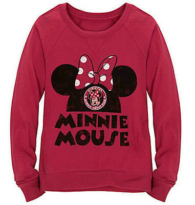 Disney Official Minnie Mouse Club Girls Raglan Long Sleeve Tee Shirt Sz S M L XL