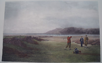 fine old  hand colored lithograph golf print The Drive