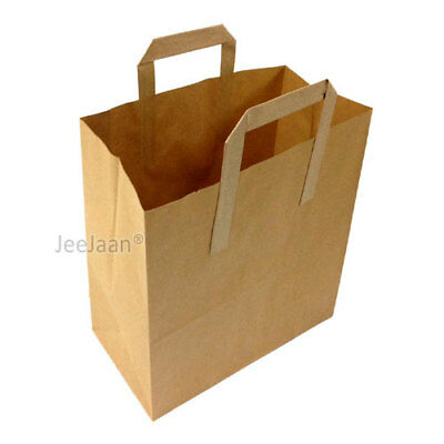 50 Small Brown Paper Carrier Bags Sos Kraft Takeaway Food Lunch With Handles